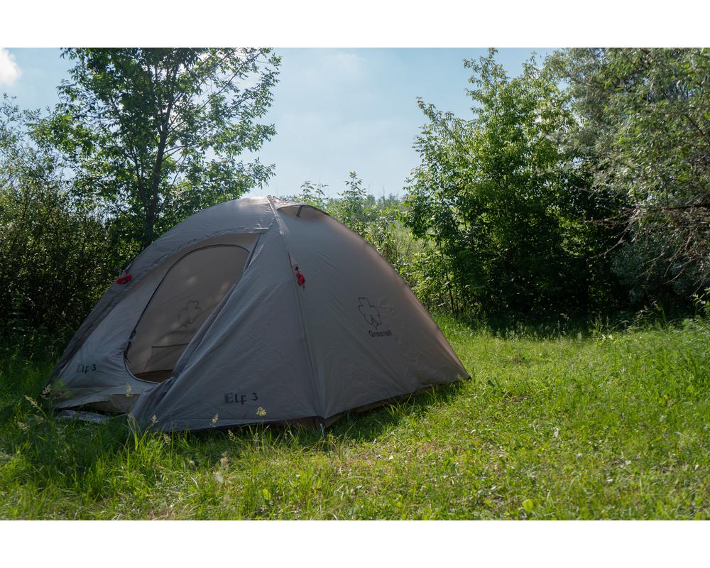 Палатка для путешествий трёхместная Эльф 3 V3 серая