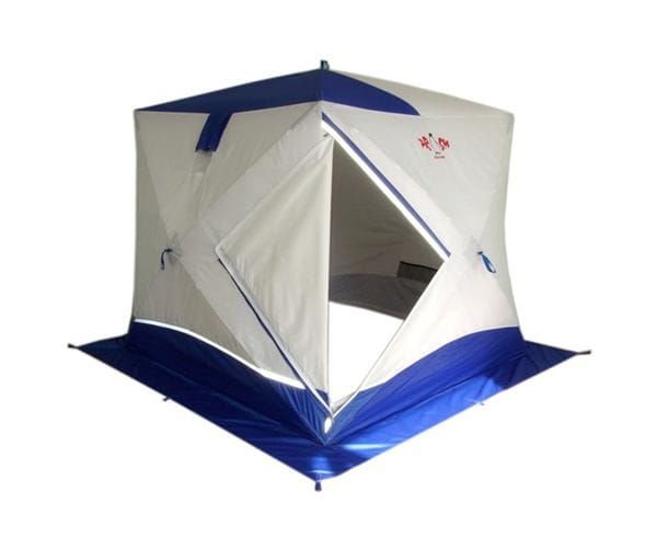 """Палатка-куб двухслойная Призма """"Премиум STRONG"""" белый/синий"""
